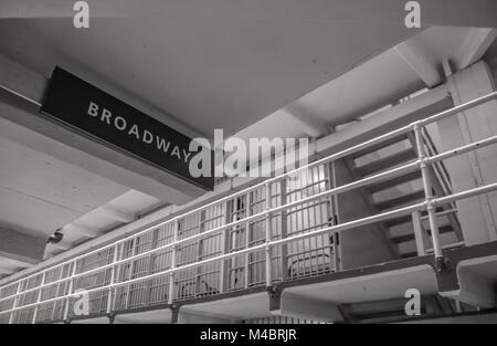 Alcatraz Island, Prison Cell, The Rock, San Francisco, Broadway Street Sign, Black and White Photo, Bay Area, California - Stock Photo