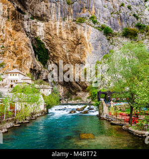 Dervish monastery or tekke at the Buna River spring in the town of Blagaj, Bosnia - Stock Photo