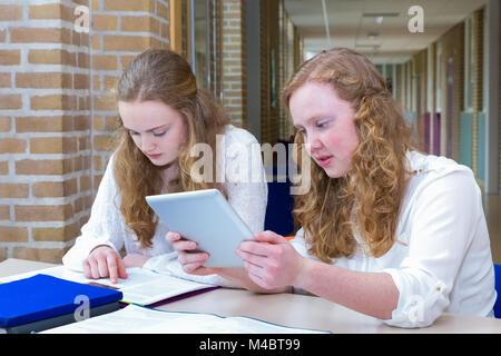 Two teenage girls studying in corridor of school - Stock Photo