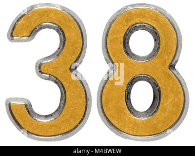 Metal numeral 38, thirty-eight, isolated on white background - Stock Photo
