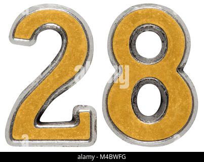 Metal numeral 28, twenty-eight, isolated on white background - Stock Photo