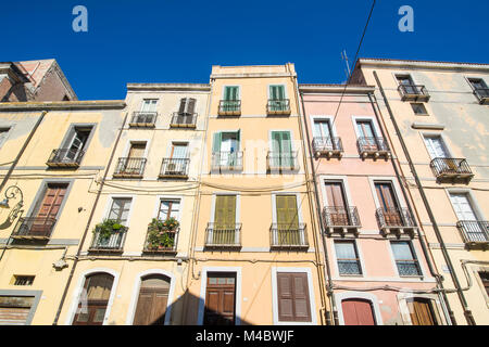 Old houses in the old town of Cagliari,Sardinia,Italy - Stock Photo