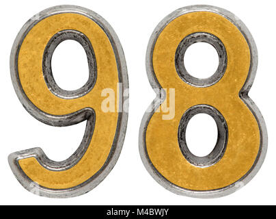 Metal numeral 98, ninety-eight, isolated on white background - Stock Photo