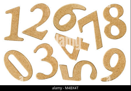 Set numeral from cardboard, isolated on white background - Stock Photo