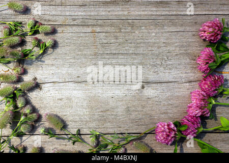 decoration with red clover flowers on the grey wooden background - Stock Photo