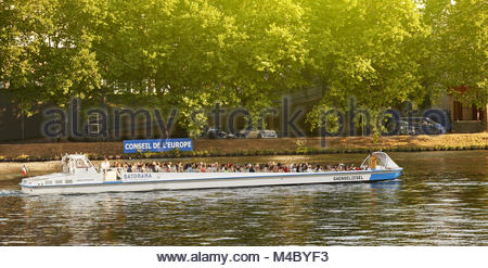 Batorama boat with tourists on Ill RIver Council of Europe - Stock Photo