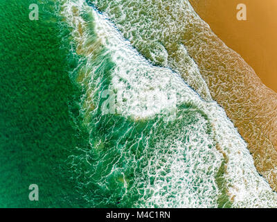Aerial View Amazing Seascape with Small Waves on Sandy Beach - Stock Photo