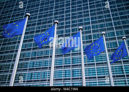European flags in front of the Berlaymont building - Stock Photo
