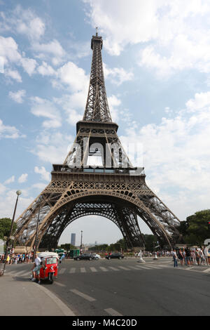 The Eiffel Tower from Quai Branly (streetview). - Stock Photo