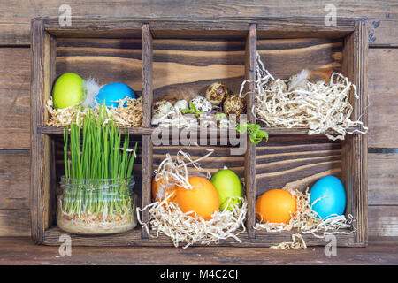 Brown Chicken Eggs And Colorful Quail Eggs Food Stock Photo