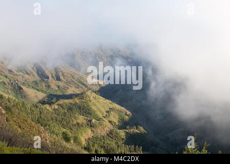 Clouds over the Barrancos Benchijigua on La Gomera - Stock Photo