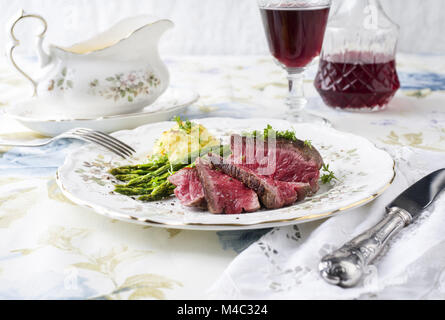 Point Steak with Green Asparagus and Mashed Potatoes - Stock Photo