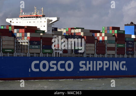 cosco shipping himalayas giant huge massive container ship leaving or arriving at the port of southampton docks - Stock Photo