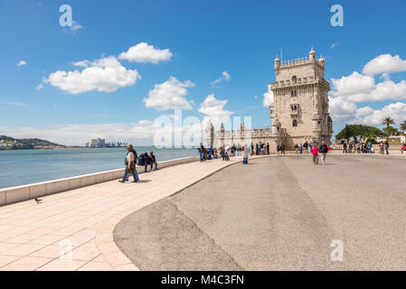 Belem Tower located on the Tagus River in Lisbon - Stock Photo