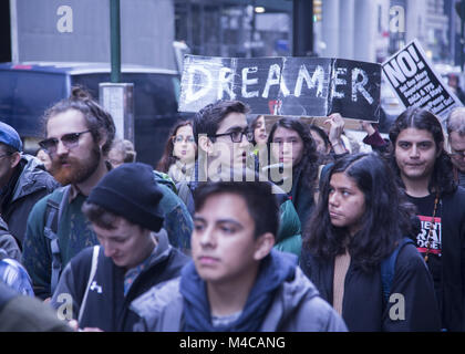 New York, USA. 15th Feb, 2018. Dreamers (DACA recipients) 'A Walk To Stay Home' march begins at Battery Park in - Stock Photo