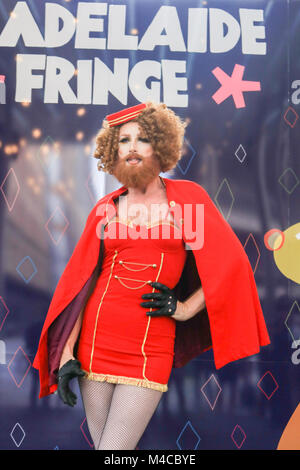 Adelaide, Australia. 16th Feb, 2018. Gingzilla attends the photocall to officially open the Adelaide Fringe festival - Stock Photo