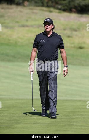 Los Angeles, CA, USA. 15th Feb, 2018. Phil Mickelson during opening round of the Genesis Open at the Rivera Country - Stock Photo