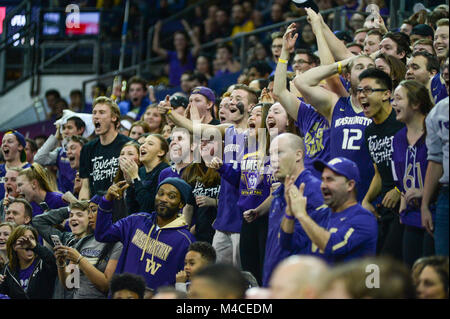 Seattle, WA, USA. 15th Feb, 2018. UW's student section, the Dawg Pound gets excited with first half action in a - Stock Photo
