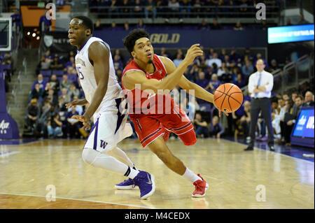 Seattle, WA, USA. 15th Feb, 2018. Utah guard Sedrick Barefield (0) in action against UW center Noah Dickerson (15) - Stock Photo