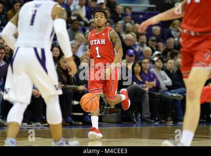 Seattle, WA, USA. 15th Feb, 2018. Utah guard Justin Bibbins (1) during a PAC12 basketball game between the University - Stock Photo