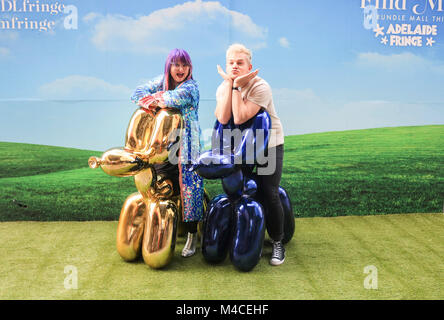 Adelaide, Australia. 16th Feb, 2018. L-R Heather Croall Director and Chief Executive Adelaide Fringe, and Joel Creasey - Stock Photo