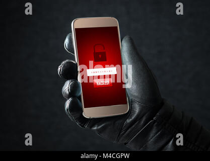 Hacked. Cyber security and online fraud concept. Mobile hacker and criminal login to personal information and data - Stock Photo