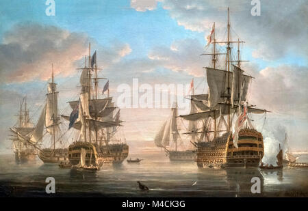 Nelson's Flagships at Anchor by Nicholas Pocock, oil on canvas, 1807. The flagship HMS Victory is prominent in the - Stock Photo