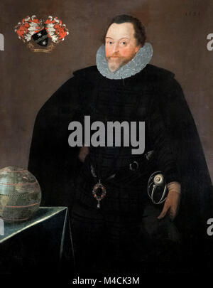Francis Drake. Portrait of Sir Francis Drake (1540-1596), by Marcus Gheeraerts, oil on canvas, 1591 - Stock Photo