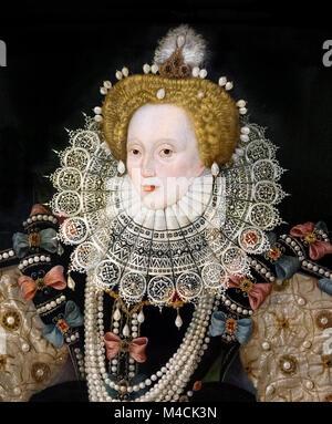 Elizabeth I, the 'Armada Portrait'. Portrait of Queen Elizabeth I by an unknown artist of the English school, oil - Stock Photo