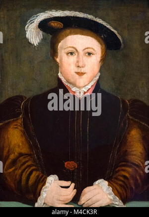 Edward VI. Portrait of King Edward VI of England (1537-1553), oil on panel, after Hans Holbein, 16th century. - Stock Photo