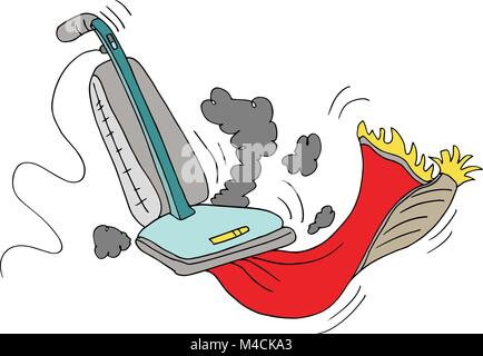 An image of a vacuum cleaner sucking up rug. - Stock Photo