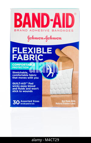 Winneconne, WI - 7 February 2018: A box of Band Aid flexible fabric strips on an isolated background. - Stock Photo