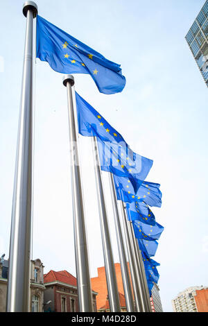 Flags in front of the EU Commission building - Stock Photo