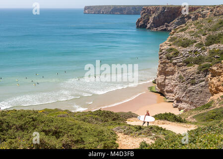 Beliche beach in the Algarve region of Portugal. - Stock Photo