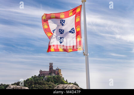 Sintra, Portugal at the Moorish Castle and Pena Palace. - Stock Photo