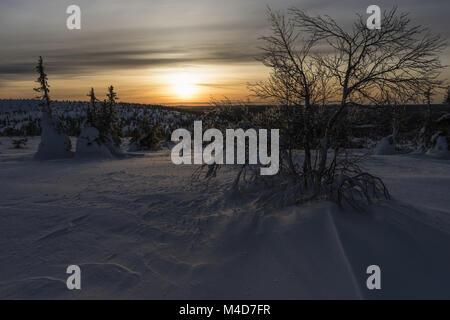 Evening mood, Riisitunturi National park, Lapland, Finland - Stock Photo