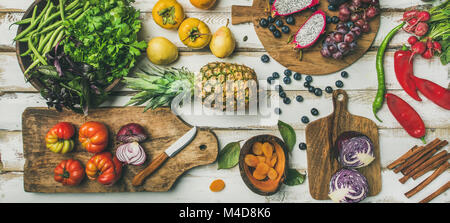 Helathy vegan food cooking background with fruites and vegetables - Stock Photo