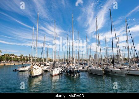 The marina Port Vell in Barcelona - Stock Photo