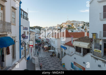 View in historic center of Albufeira, Algarve, Portugal. - Stock Photo