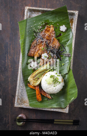 Unagi filet with Vegetable and Rice - Stock Photo