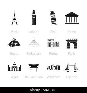 World landmarks outline icons set - Stock Photo