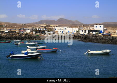 Fishing boats in port, Fuerteventura - Stock Photo