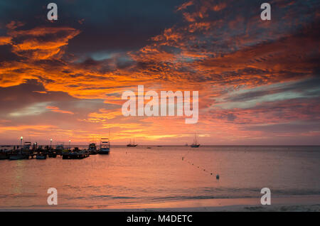 the Golden hour with  sail boats on sea anchored - Stock Photo