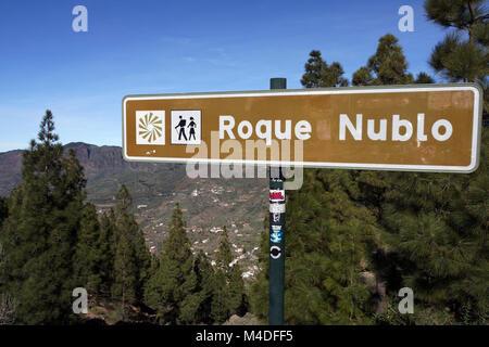 Hike around Roque Nublo in Parque Rural del Nublo - Stock Photo