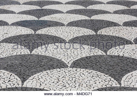 Mosaic Paving on the town hall square in Funchal - Stock Photo