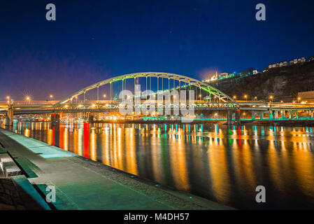 three rivers heritage trail passes over bridge in pittsburgh pa - Stock Photo