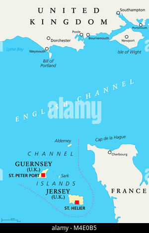 Channel Islands political map. Crown dependencies Bailiwick of Guernsey and Bailiwick of Jersey with capitals. Archipelago - Stock Photo