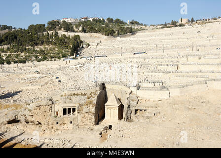 Kidron Valley and the Mount of Olives in Israel - Stock Photo