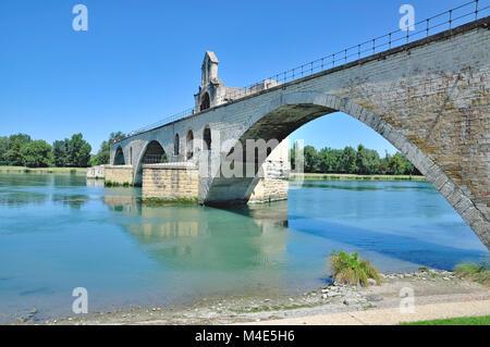 famous Bridge of Avignon in Provence,France - Stock Photo