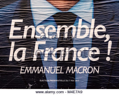 Emmanuel Macron portrait during Second round French Presidential election - Stock Photo